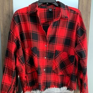 Raw edge crop red and black flannel